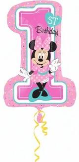 1st Birthday Cijferallon Minnie Mouse Girl  gevuld met helium