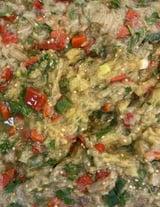 Gegerilde Aubergine Paprika Salade Meze Tapenade per 100 Gr