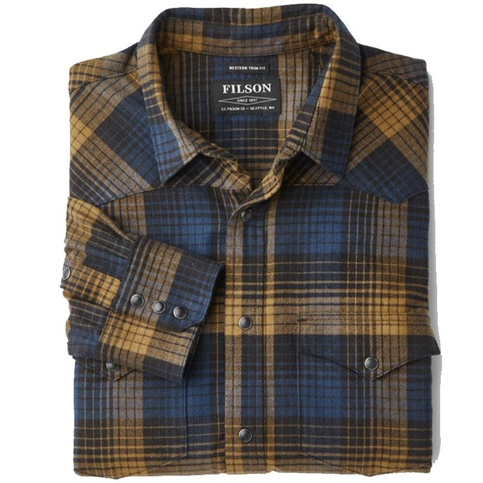 Filson Filson Western Flannel Shirt Blue / Black / Ochre #2