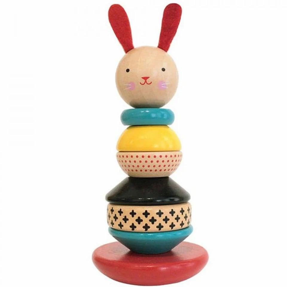 Petit Collage houten stapeltoren Modern Bunny +12 mnd