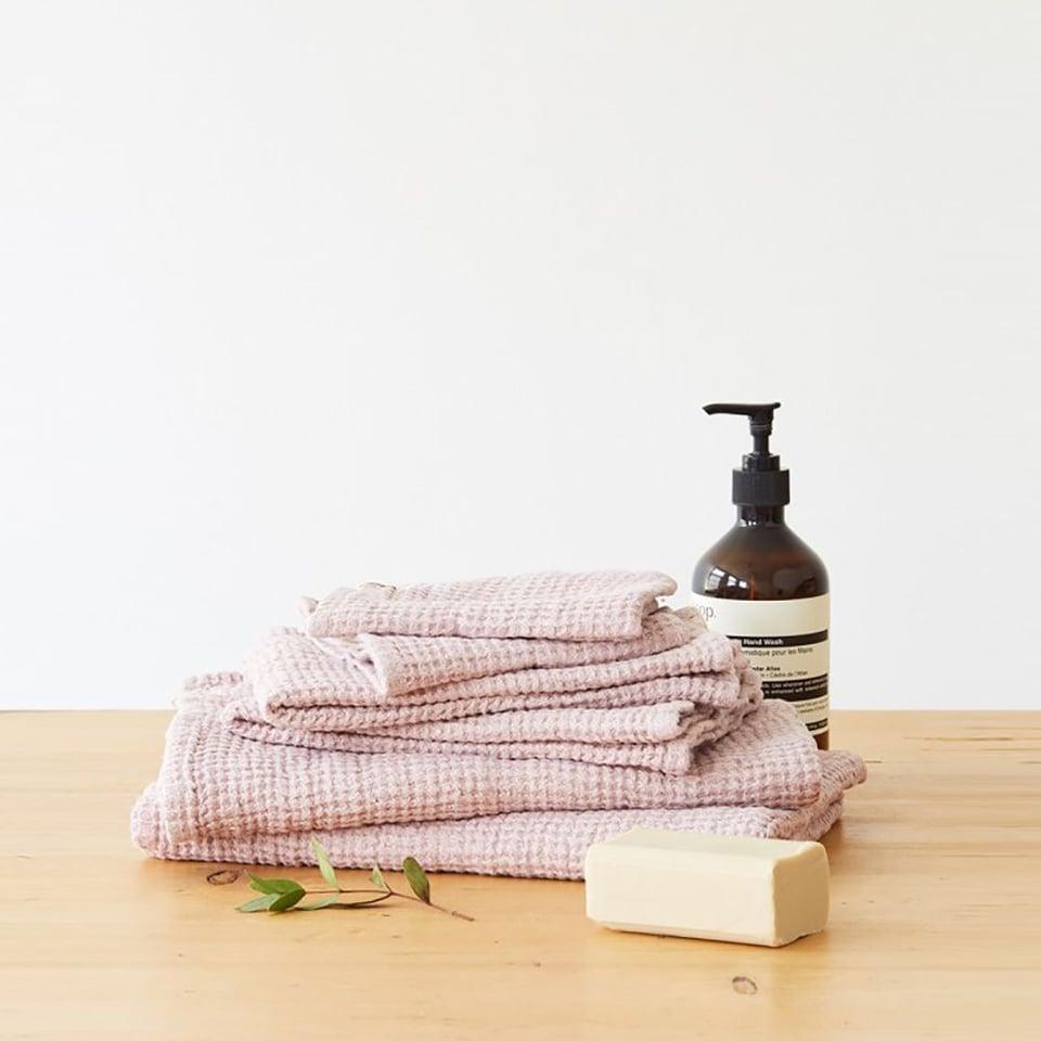 Linen Tales linnen wafel handdoekje 30 x 30 cm poederrose
