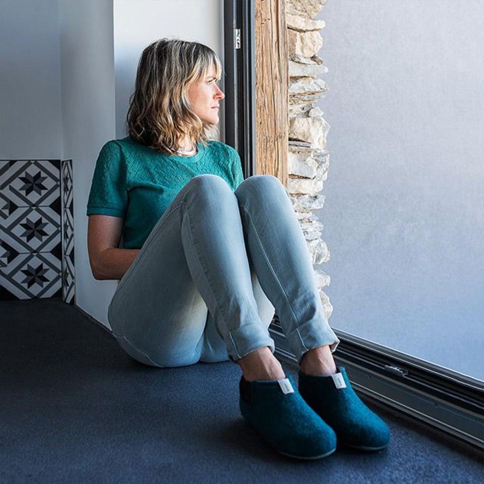 Baabuk wollen pantoffel Yves Emerald Green #5