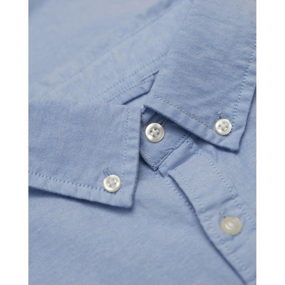 KnowledgeCotton Apparel Knowledge Cotton Apparel Stretched Oxford Shirt Lapis Blue #1