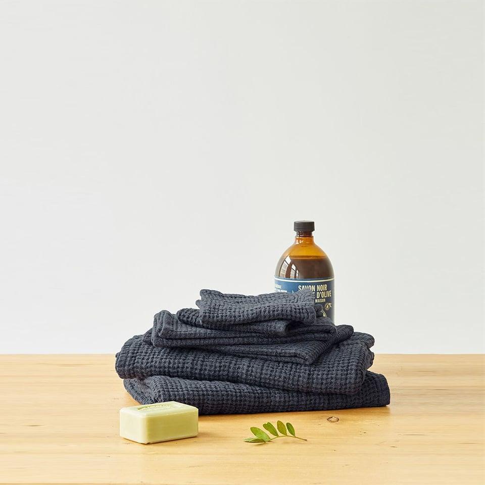 Linen Tales linnen wafel handdoekje 30 x 30 cm donkergrijs