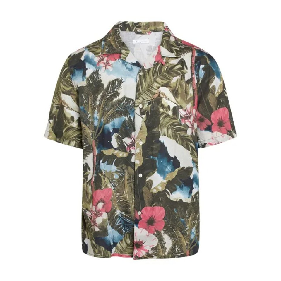 KnowledgeCotton Apparel KnowledgeCotton Apparel Wave Loose Fit Hawaii Linen Shirt Forrest Night