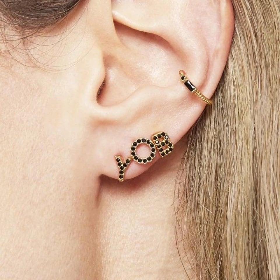 Small earcuff Black & Gold #1