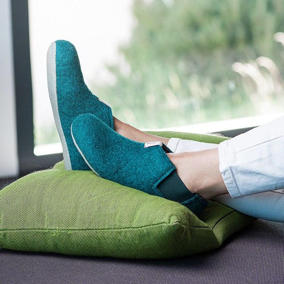 Baabuk wollen pantoffel Yves Emerald Green #2
