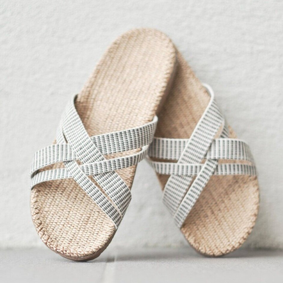 Shangies slippers dames wit-gestreept #3