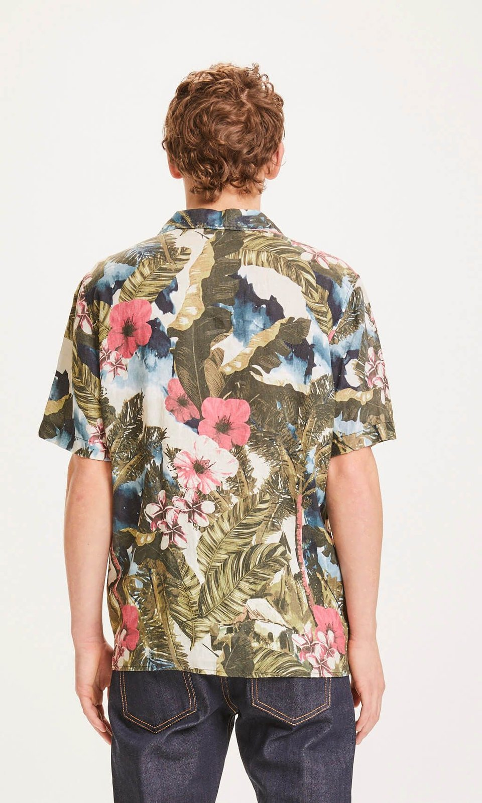 KnowledgeCotton Apparel KnowledgeCotton Apparel Wave Loose Fit Hawaii Linen Shirt Forrest Night #2