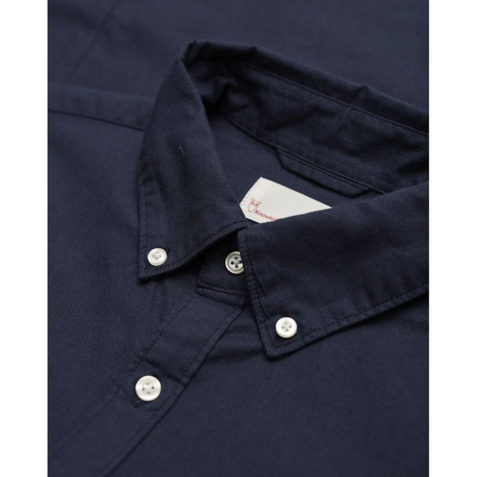 KnowledgeCotton Apparel Knowledge Cotton Apparel Stretched Oxford Shirt Total Eclipse #2
