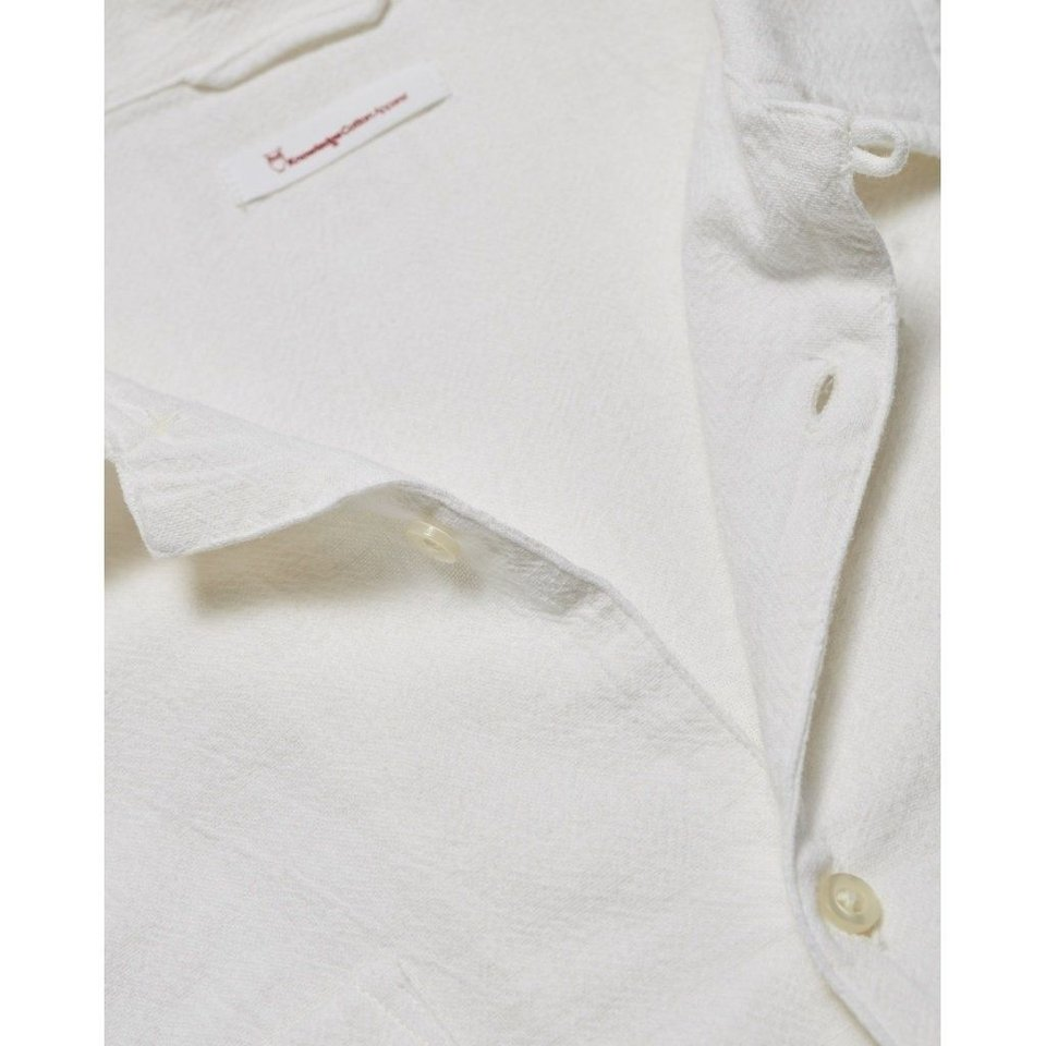 KnowledgeCotton Apparel Knowledge Cotton Apparel Wave Plain LS Shirt Bright White #1