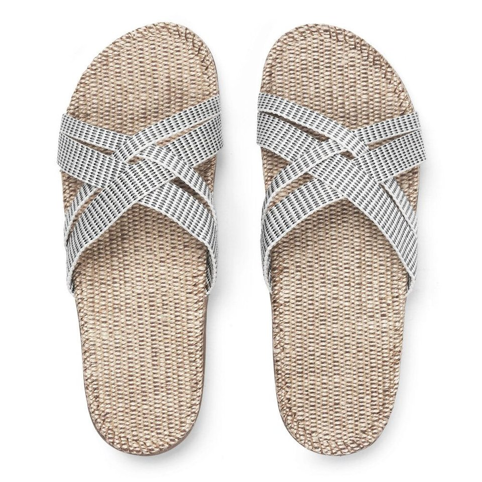 Shangies slippers dames wit-gestreept