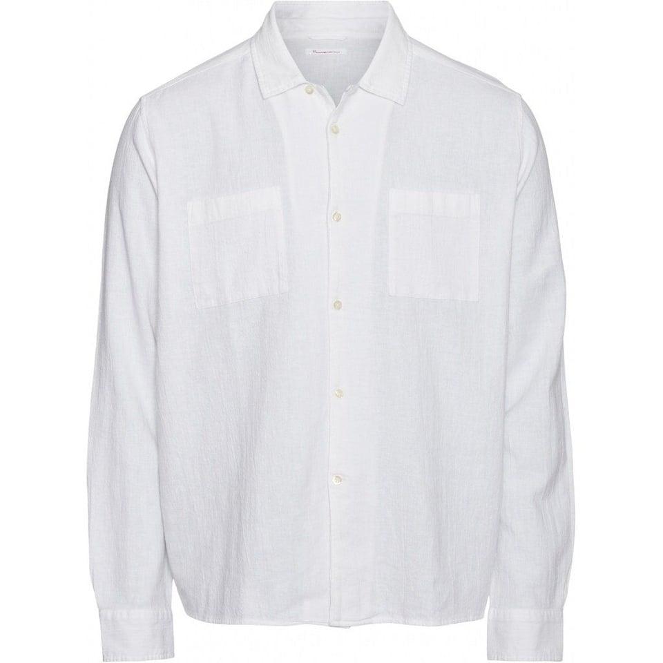 KnowledgeCotton Apparel Knowledge Cotton Apparel Wave Plain LS Shirt Bright White