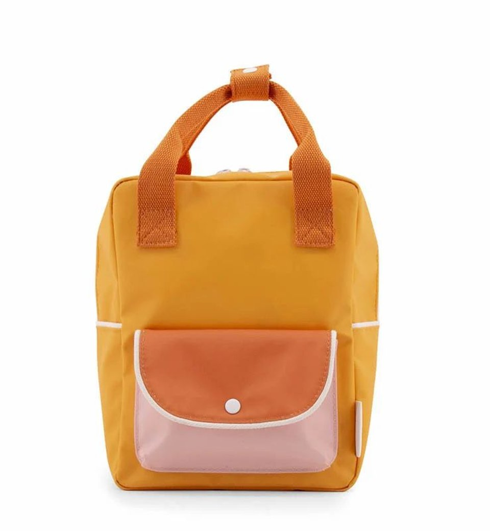 Sticky Lemon small backpack wanderer - sunny yellow + carrot orange + candy pink