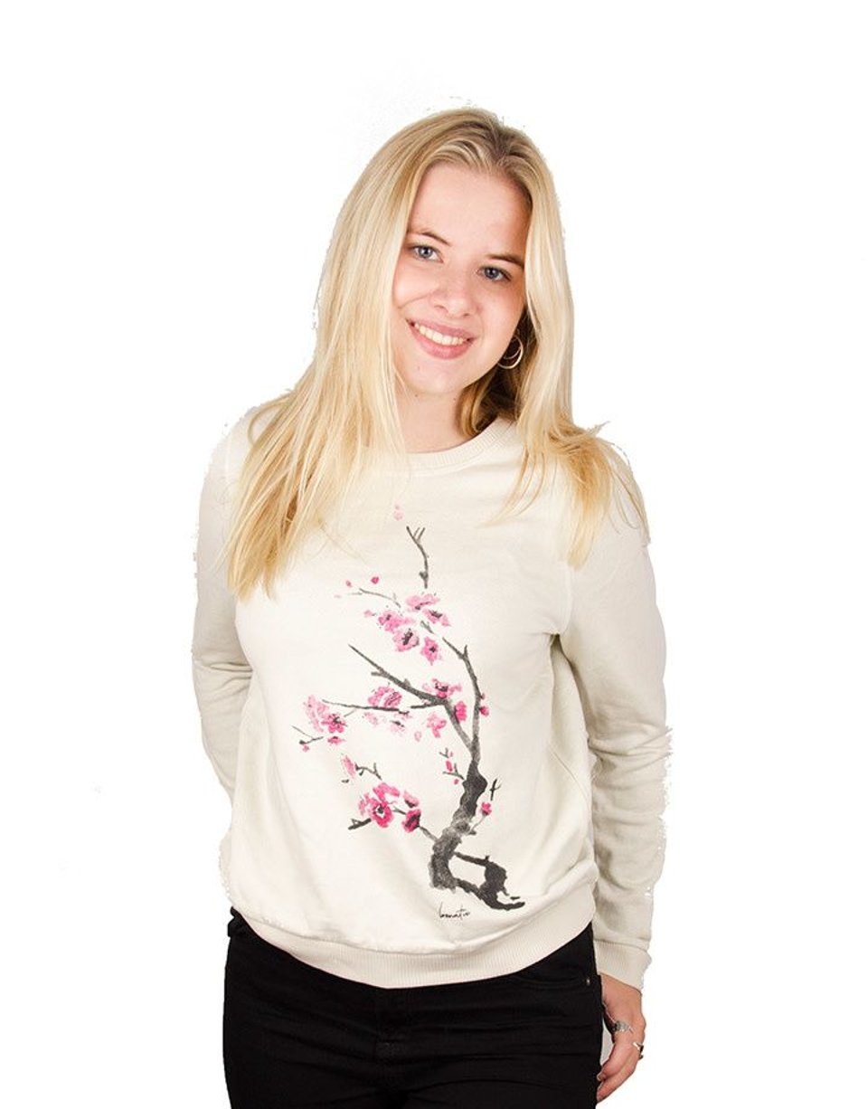 Cherry Blossom Sweater - Bicolor Crew Neck