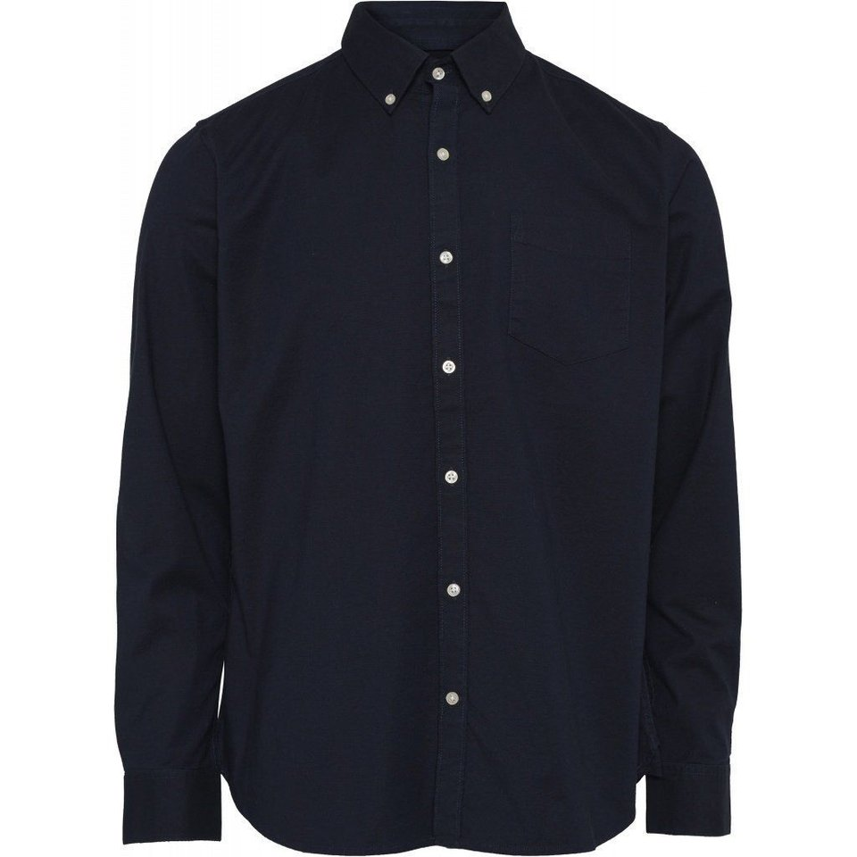 KnowledgeCotton Apparel Knowledge Cotton Apparel Stretched Oxford Shirt Total Eclipse