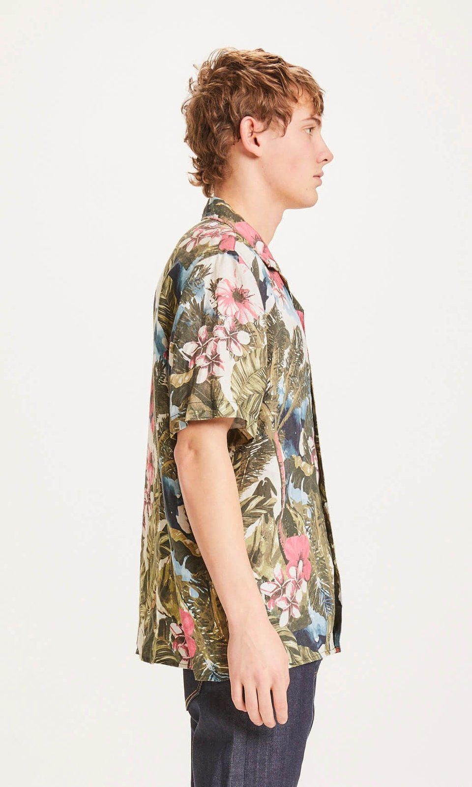 KnowledgeCotton Apparel KnowledgeCotton Apparel Wave Loose Fit Hawaii Linen Shirt Forrest Night #3