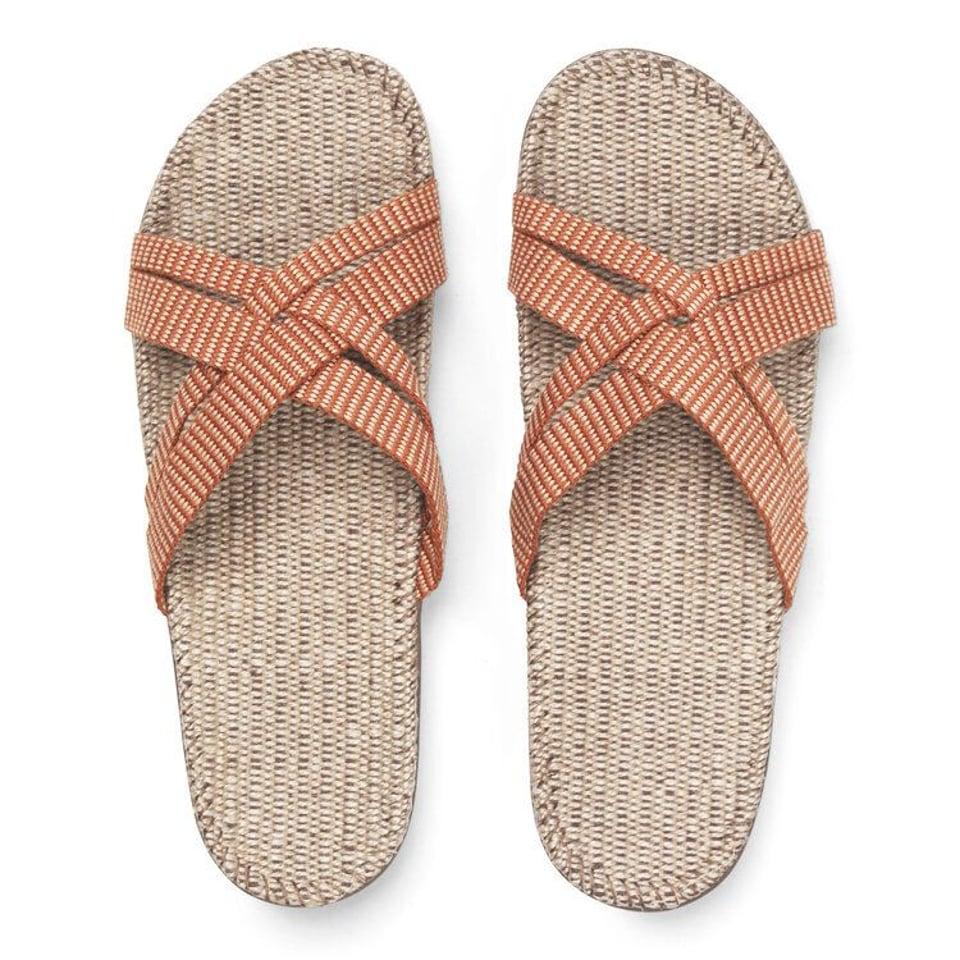 Shangies slippers dames oranje gestreept