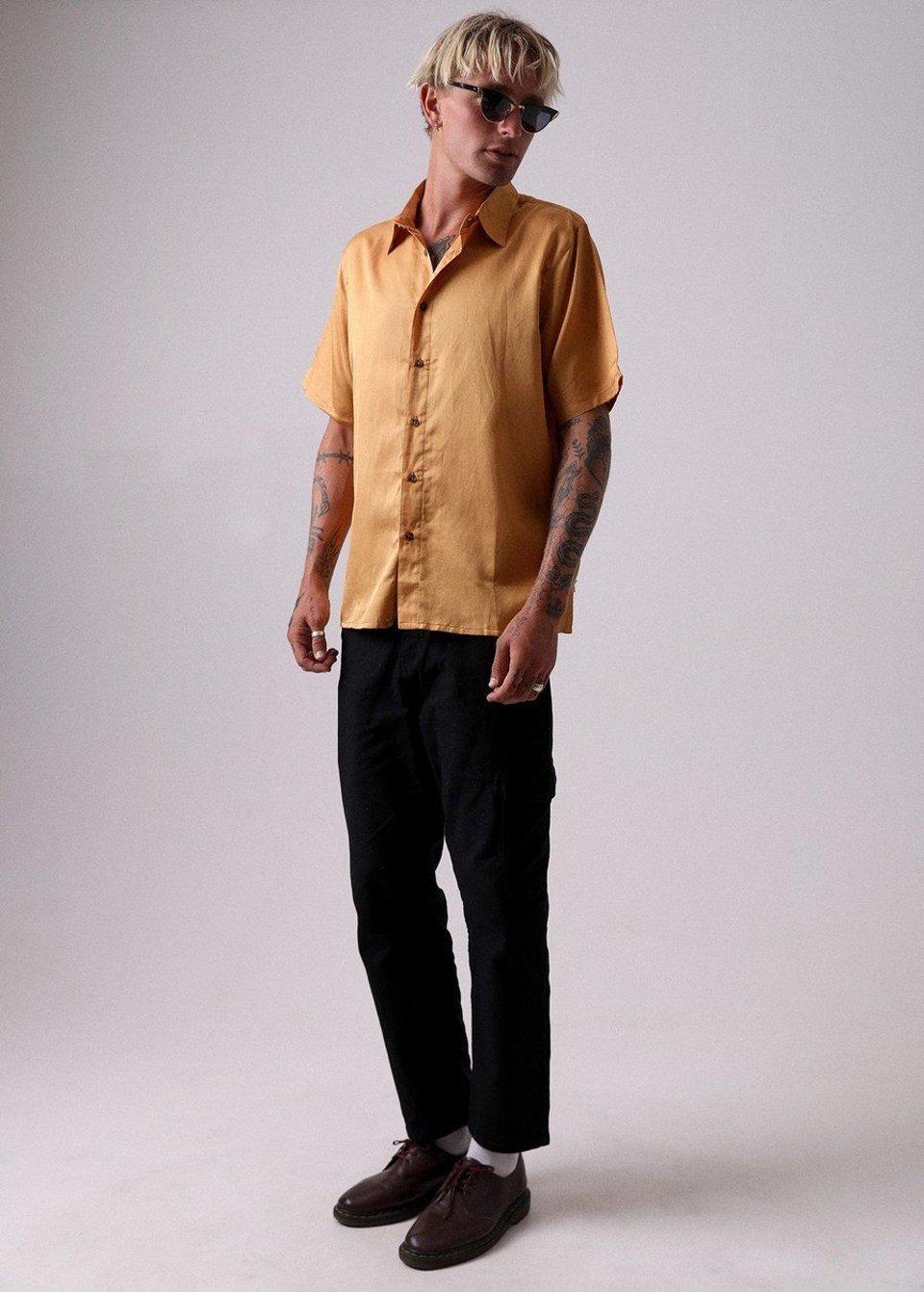 Afends Afends Holidayhemp Silk Shortsleeve Shirt Honey Yellow #3