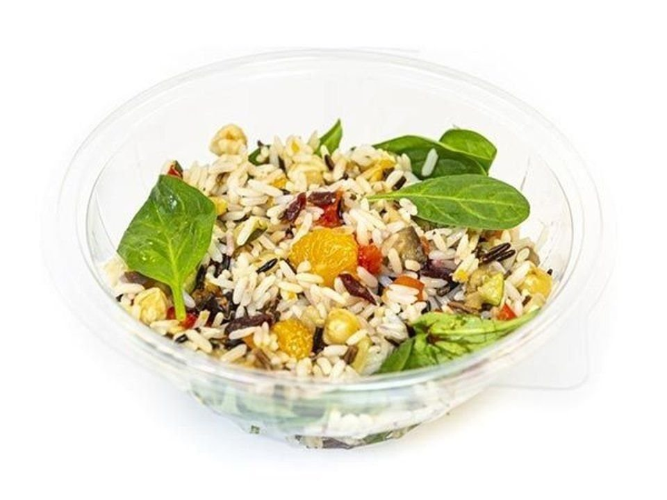 Wild rice salad with cranberries and hazelnuts