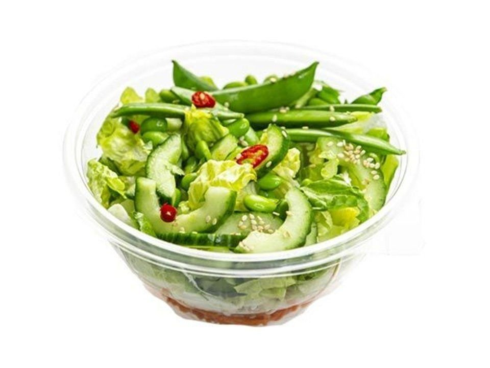 Asian salad with sugar snaps and edamame beans