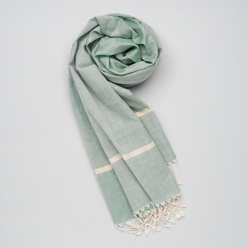 Kala Swaraj zachte handgeweven katoenen sjaal groentinten
