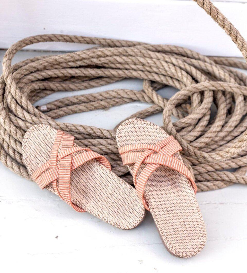 Shangies slippers dames oranje gestreept #2