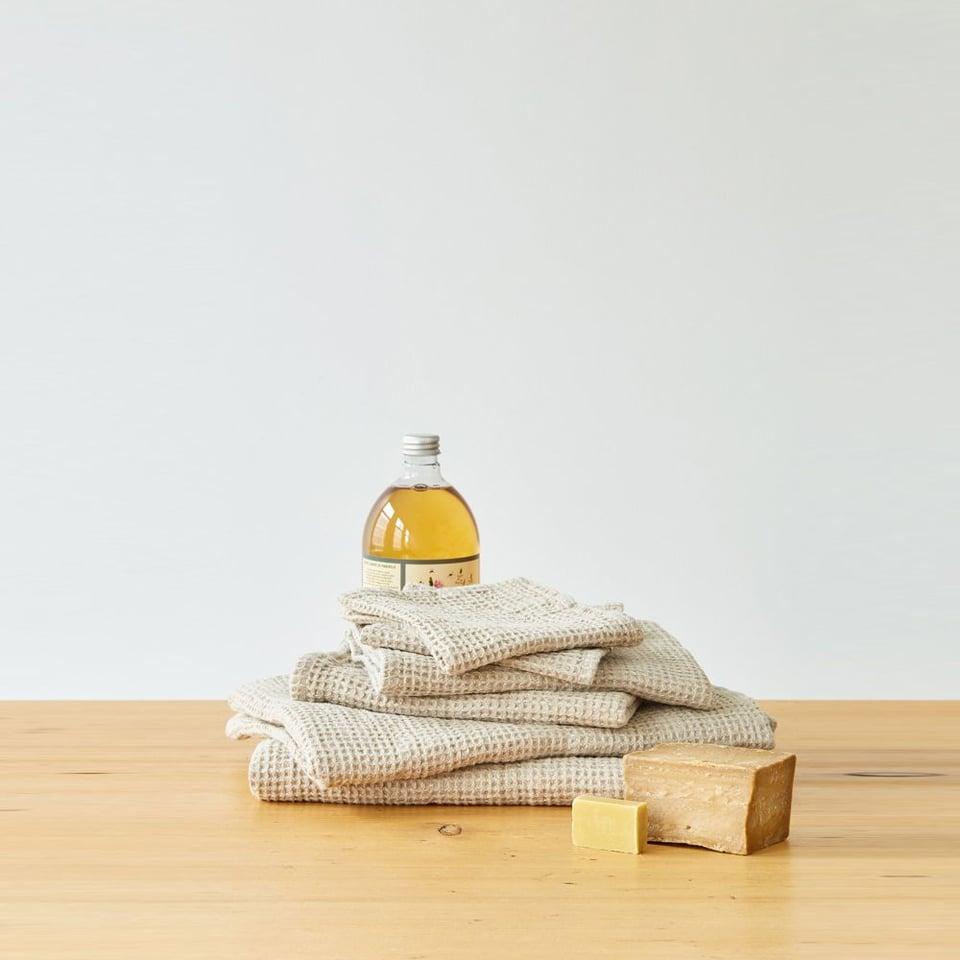Linen Tales linnen wafel handdoekje 30 x 30 cm beige