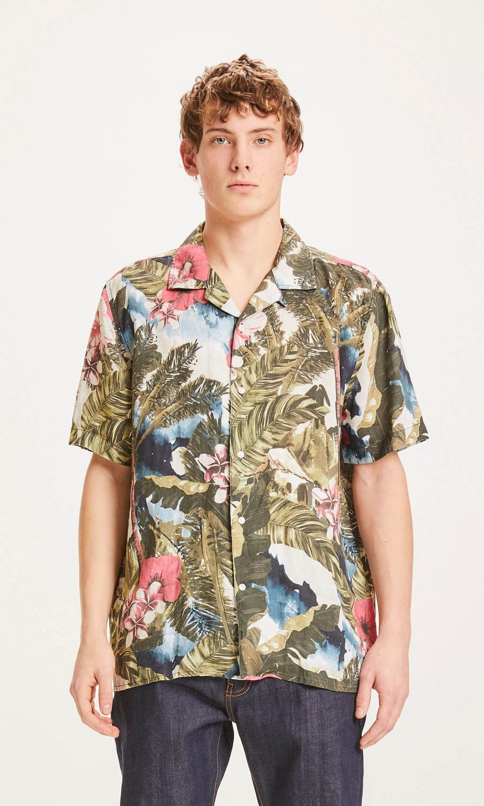 KnowledgeCotton Apparel KnowledgeCotton Apparel Wave Loose Fit Hawaii Linen Shirt Forrest Night #1