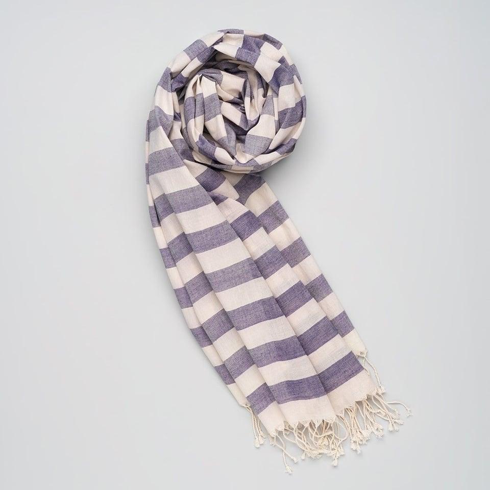 Kala Swaraj zachte handgeweven katoenen sjaal blauw-wit gestreept