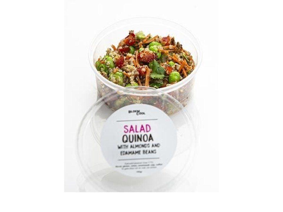 Quinoa salad with edamame beans, coriander and almonds