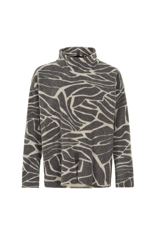 Fleece Sweater High Neck - Leaves