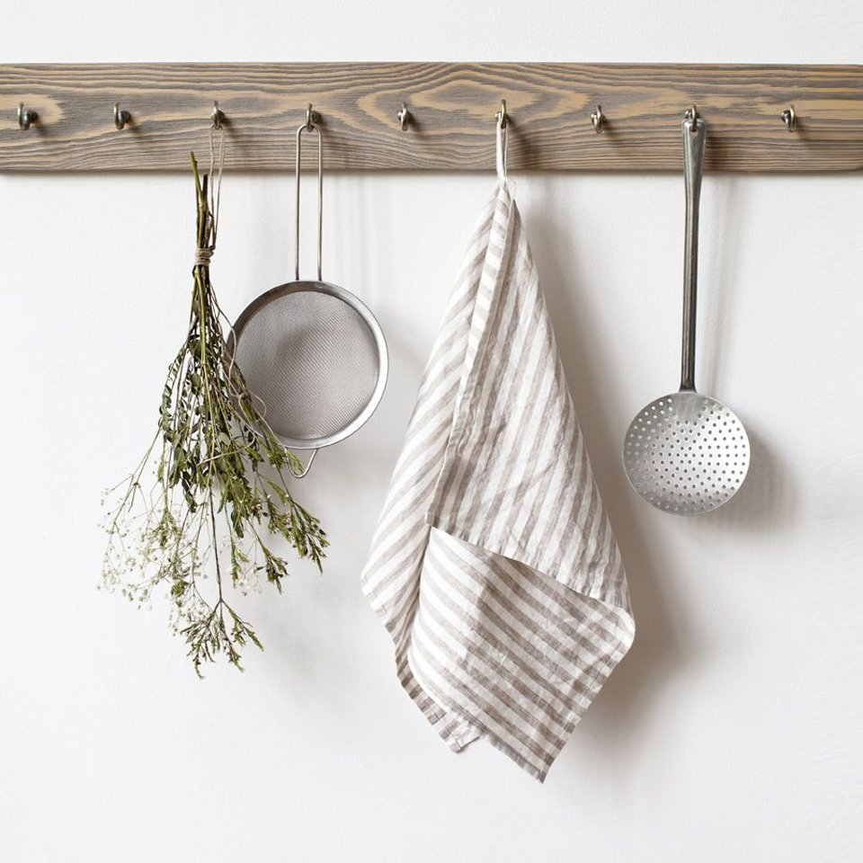 Linen Tales theedoek Natural White Stripes